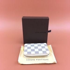 Preowned LV Damier Azur Square Zip Around Wallet